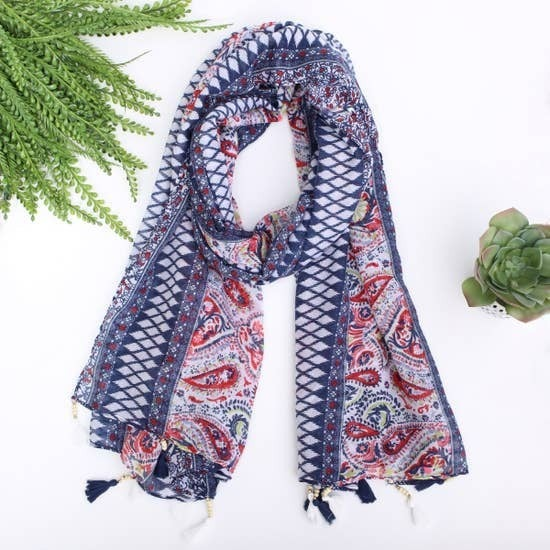 Navy and Pink Scarf