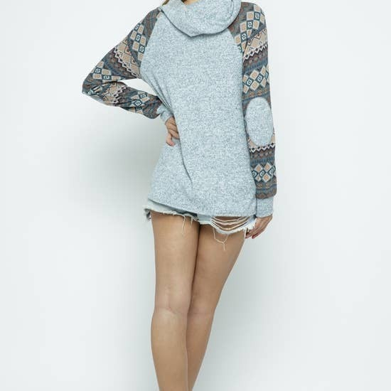 AZTEC PRINT HOODIE WITH FRONT POCKET