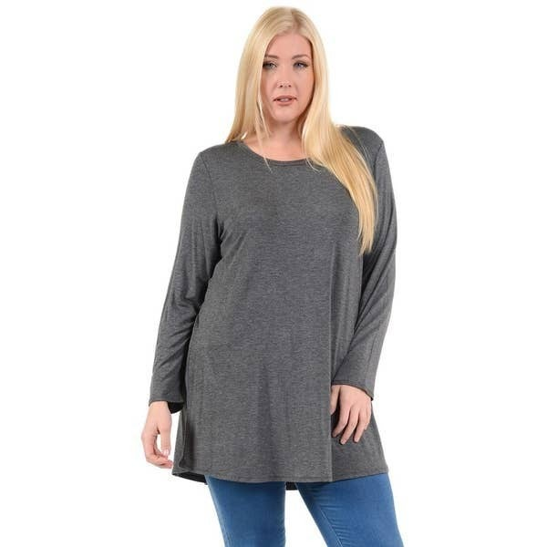 Solid Knit Tunic Top