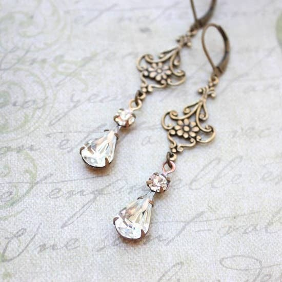Long Filigree Crystal Glass Earrings - Vintage Glass
