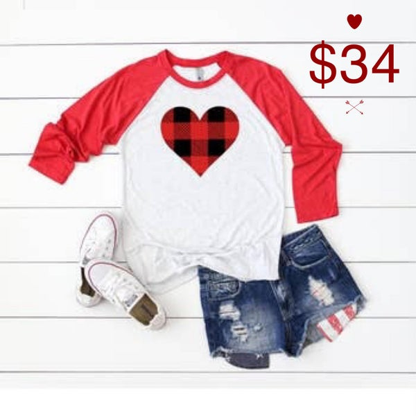 Buffalo Plaid Heart Shirt