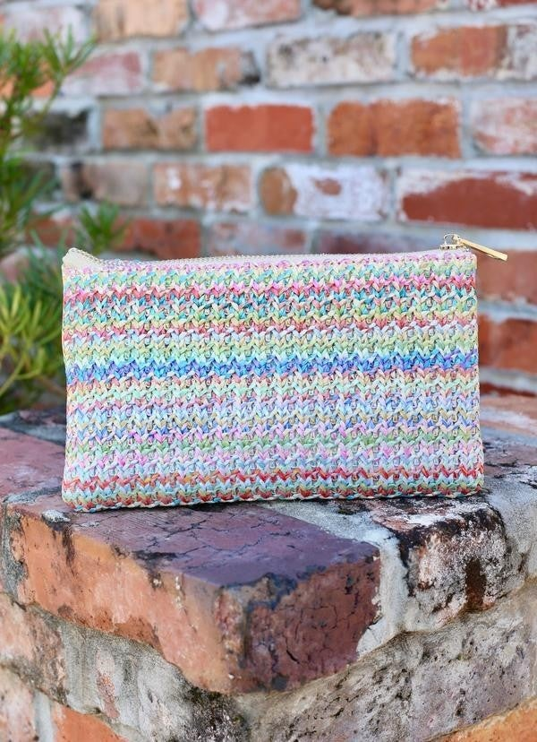 Crossbody woven pastel straw
