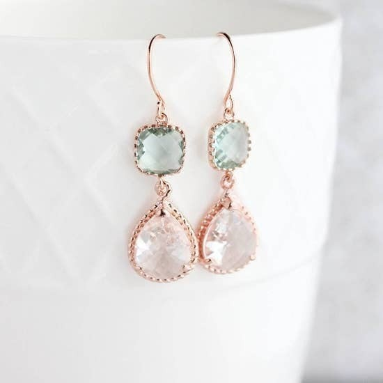 Rose Gold Glass Earrings