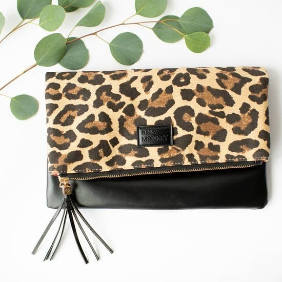 Fold Over Clutch Leopard