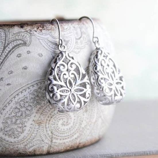 Silver Teardrop Filigree Earrings