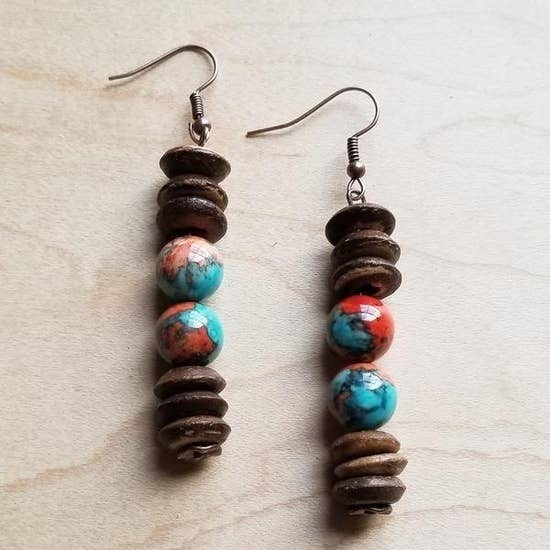 Turquoise and Wood Earrings
