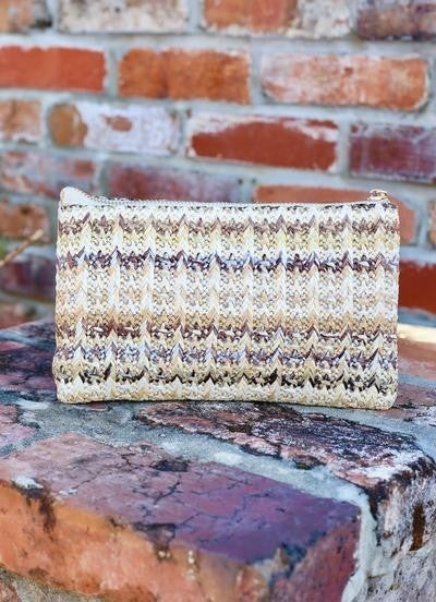 Crossbody woven neutral straw