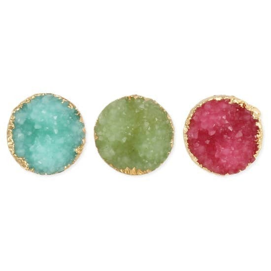 Rock Candy Bright Druzy Round Post Earrings