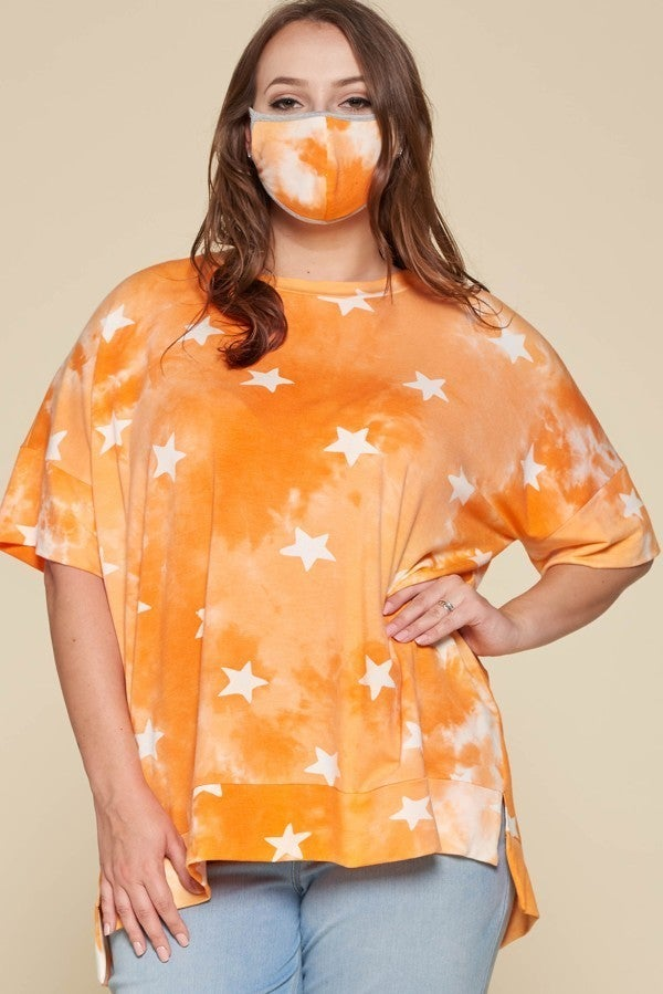 Coral Printed Top with FREE Mask!