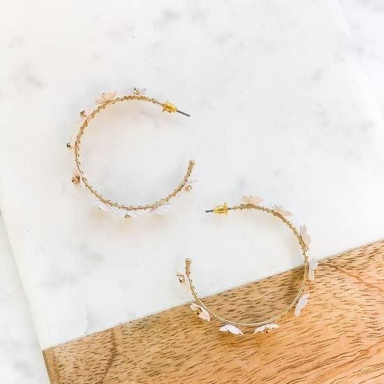 Floral Open Hoop Earrings
