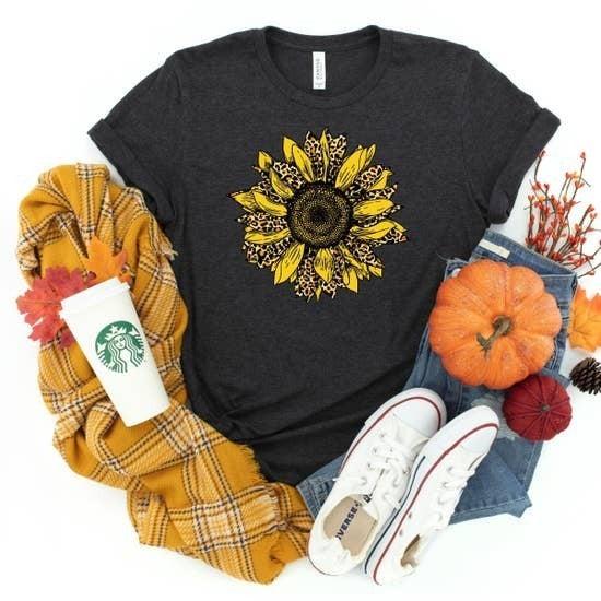 Cheetah Fall Sunflower Dark Heather Gray Tshirt