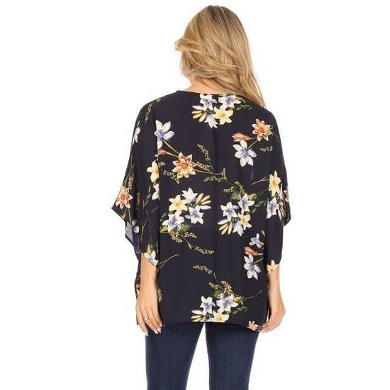Navy Pop Floral Kimono