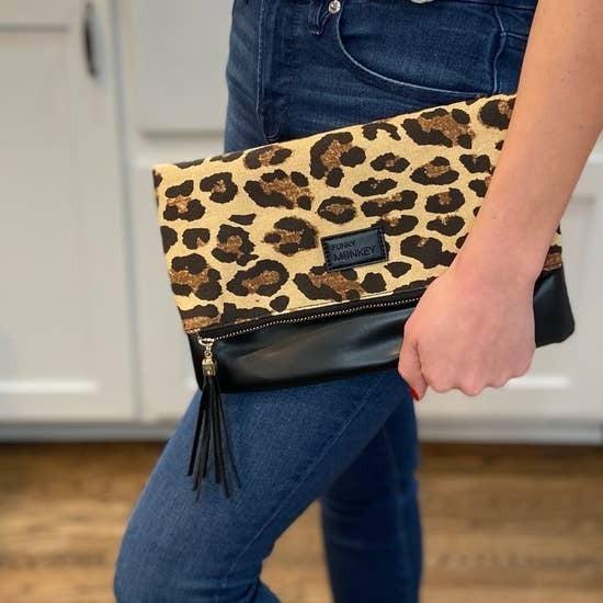Fold Over Clutch Leopard