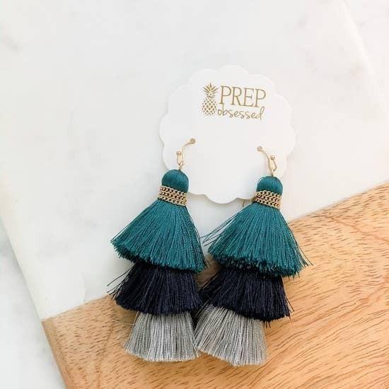 Teal Layered Tassel Earrings