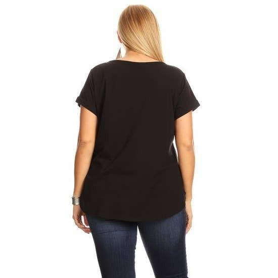 Perfect V Neck Plus Size Top Black