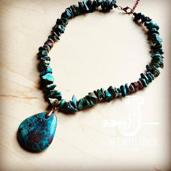Genuine Natural Turquoise Collar Necklace w/ Pendant