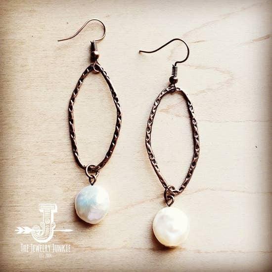 Freshwater Pearl Coin Earrings