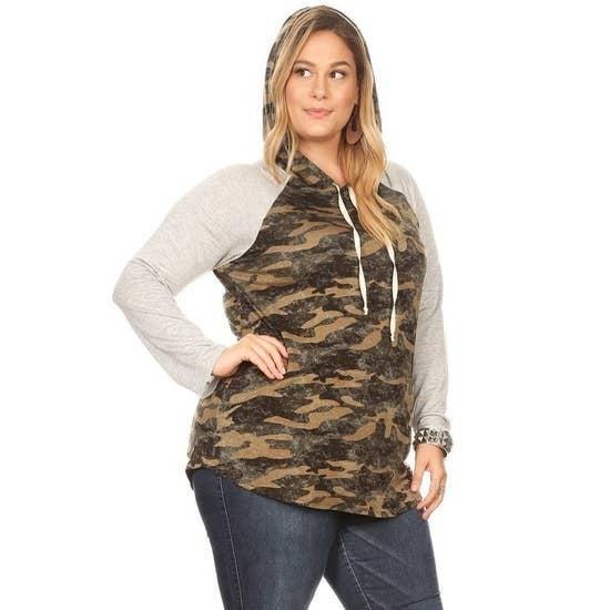 Knit Army Print Long Sleeve Hoodie