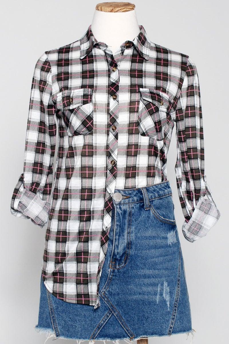 Urban Pinky Plaid Flannel