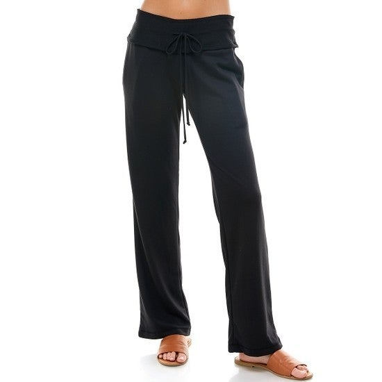 Black French Terry Solid Pants