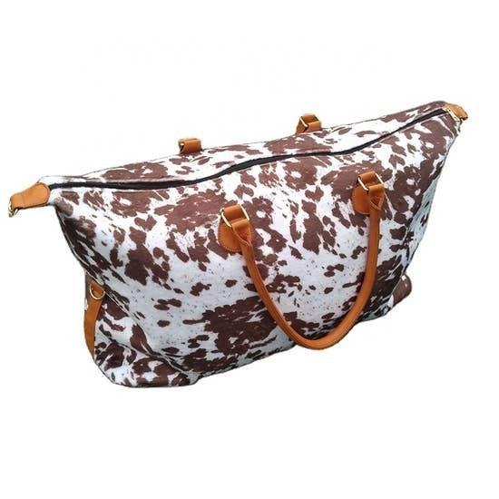 Brown Cow Print Weekender Bag