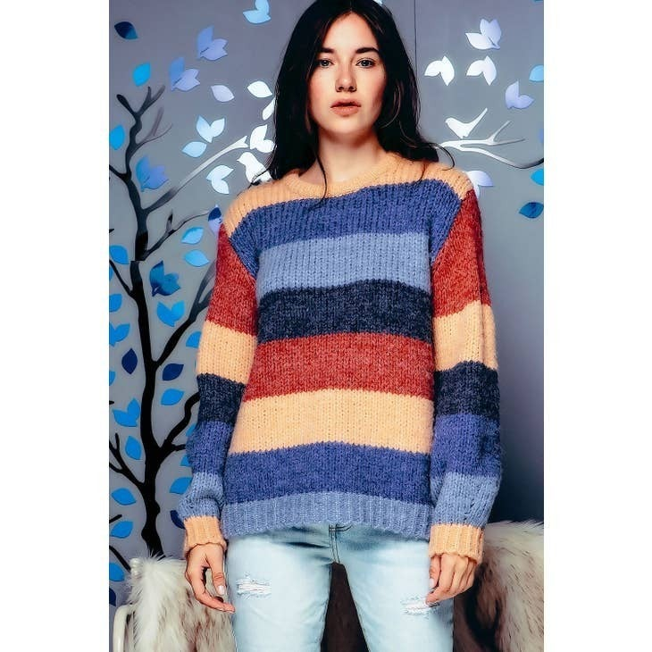 Color Block Striped Chunky Sweater