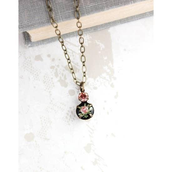 Black Cameo Pendant Necklace