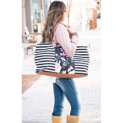 Striped Floral Weekender Bag