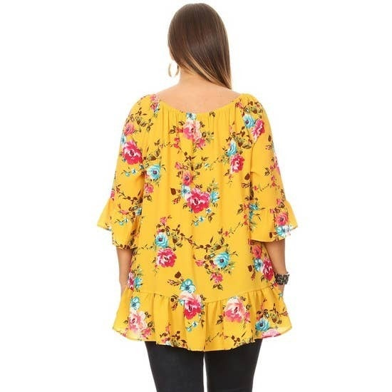 Floral Top Mustard