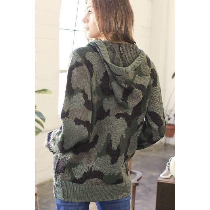 Military Zip Up Hoodie Cardigan
