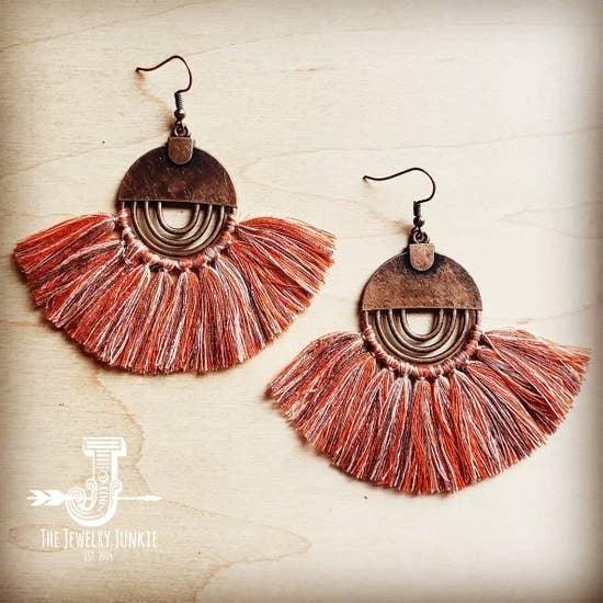Terra Cotta Fan Tassel Earrings