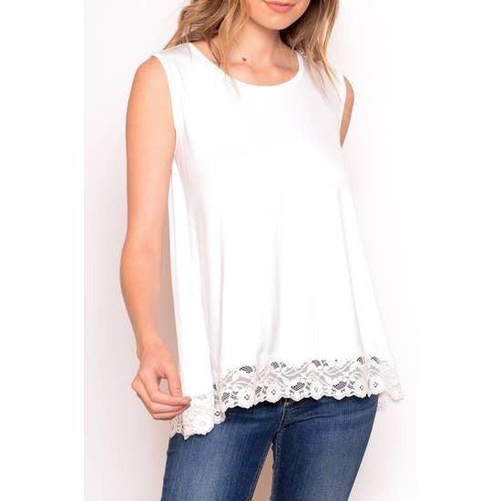 Lace Trim Sleeveless Knit Top