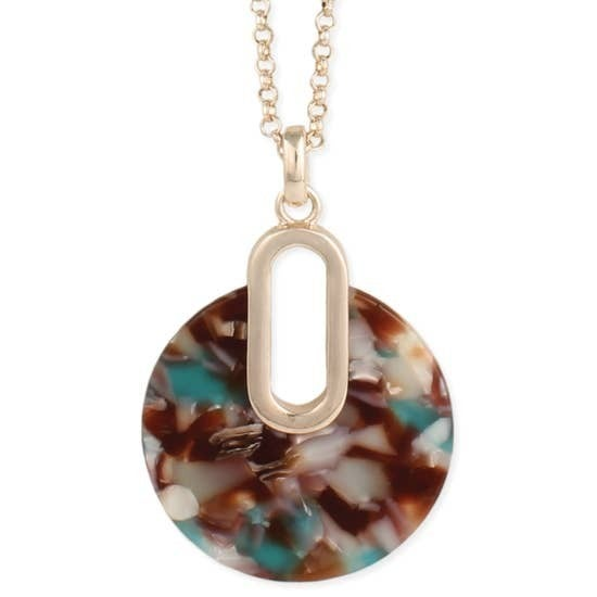 Mid Century Modern Marbled Resin Round Necklace