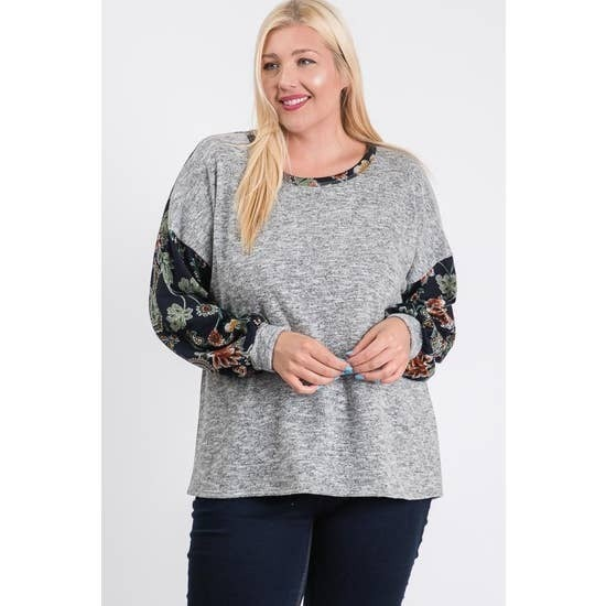Long Sleeve Floral and Paisley Top