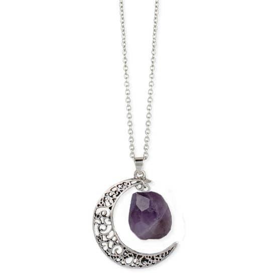 Silver Moon Amethyst Necklace