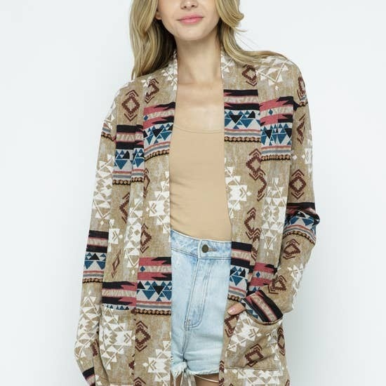 AZTEC PRINT COLOR BLOCK CARDIGAN