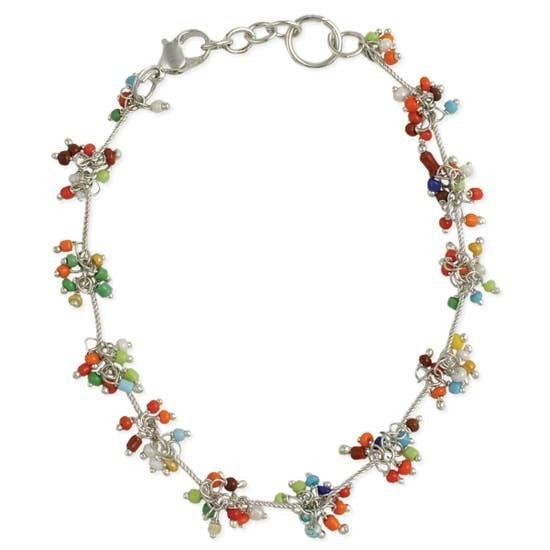 Cluster Bead Silver Anklet