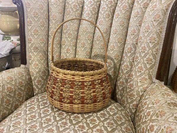 Handwoven basket wood base