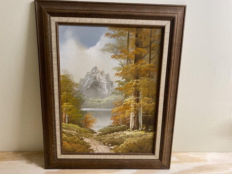 Fall oil painting framed