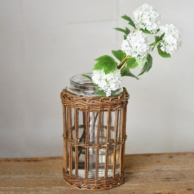 Large Jar With Willow Basket