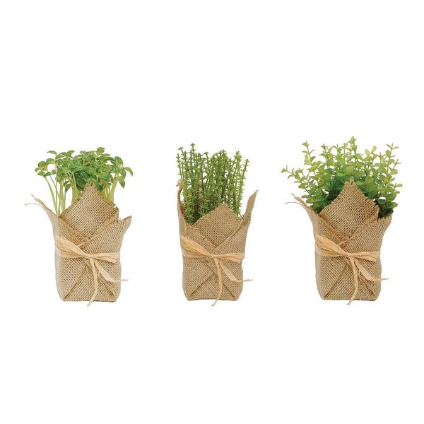 Burlap Wrapped Artificial Potted Herbs