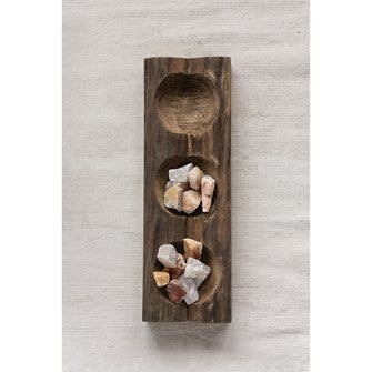 Decorative Wood Tray w/ 3 Sections