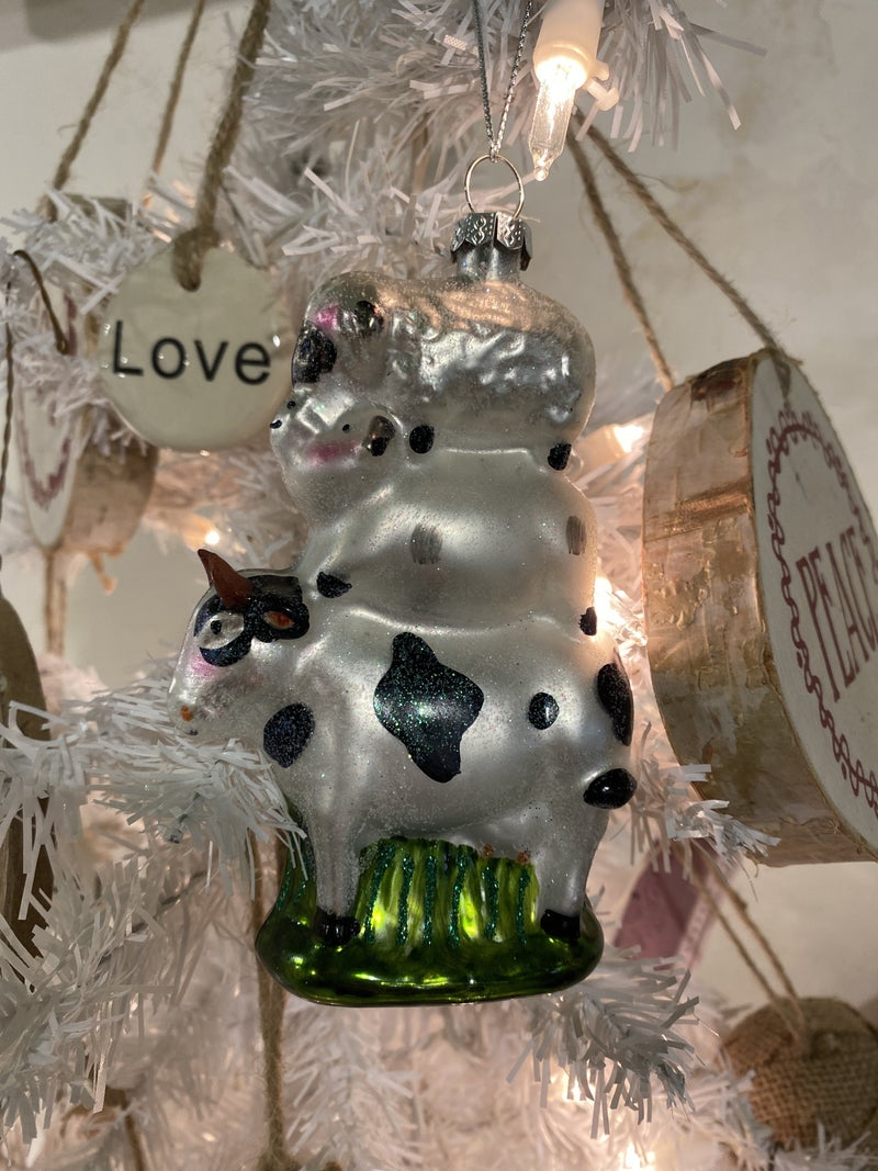 Farm Animals Glass Ornament