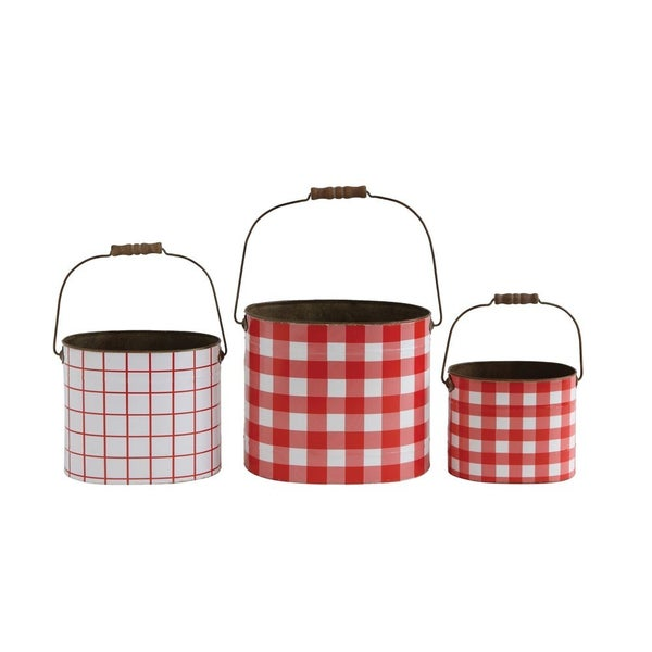 Metal Buckets Red Gingham