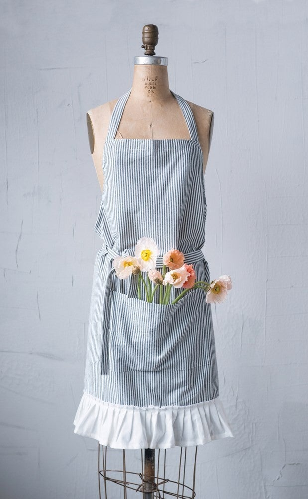 Cotton Apron with Pocket and Ruffle