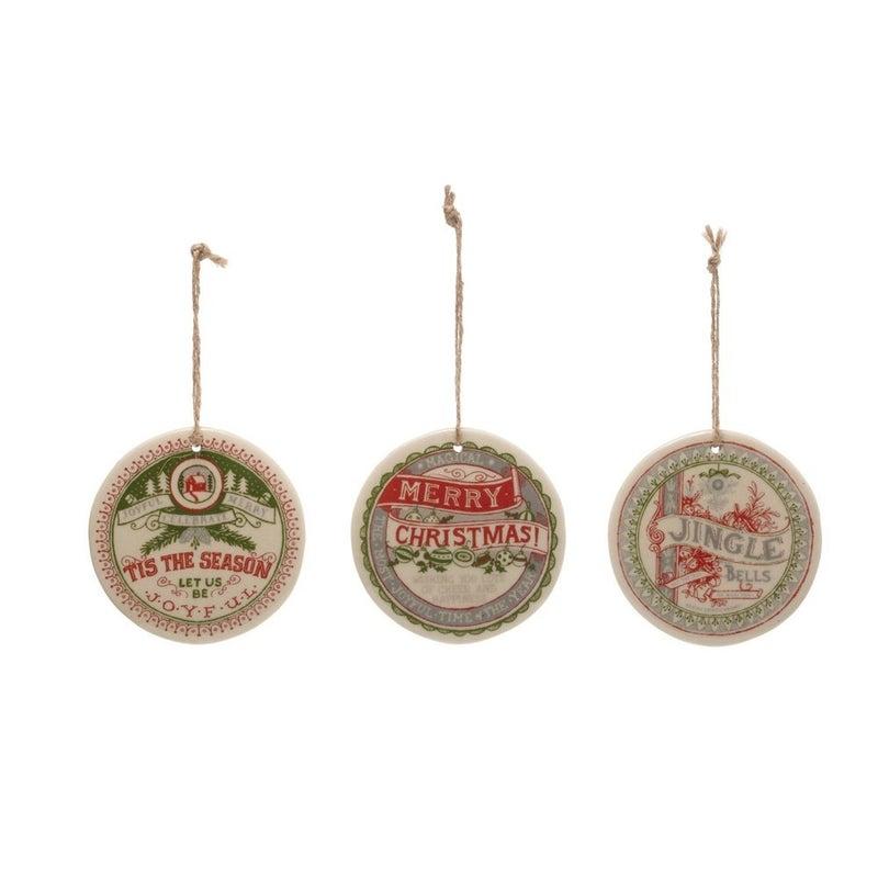 Stoneware Ornament, 3 Styles