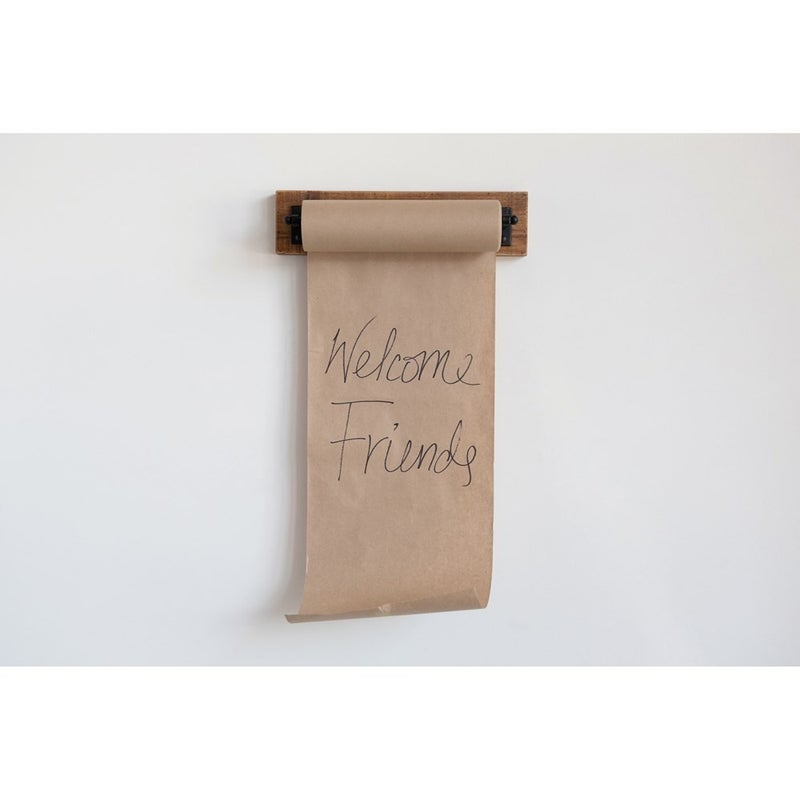 Paper Roll on Wood and Metal Wall Bracket