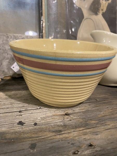 "6"" Watt Pink and Blue Stripe Crock Bowl"