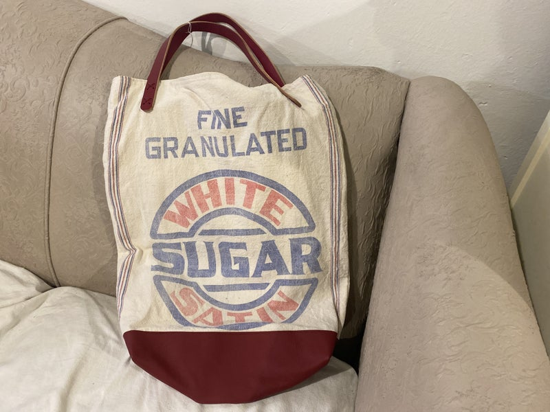 Vintage Sugar Sack Bag with American Leather