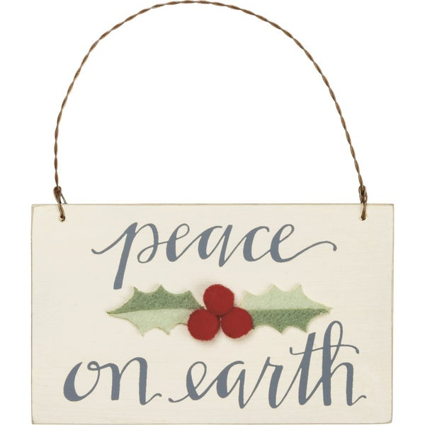 Peace on Earth Ornament with Felt Holly